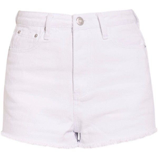 Shelby White High Waisted Denim Shorts ($26) ❤ liked on Polyvore featuring shorts, high rise jean shorts, high-waisted shorts, high-rise shorts, highwaist shorts and high rise shorts