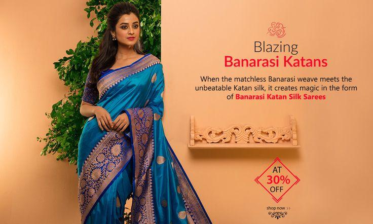 Best Sellers, Banarasi #KatanSilkSarees have Arrived at 30% OFF