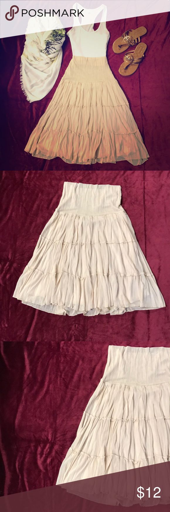 **IZ BYER CALIFORNIA** Tiered Gauze A-Line Skirt **IZ BYER CALIFORNIA** Tiered gauze a-Line skirt with lining. Never worn but no tags. Beautiful condition. Perfect for summer or fall! Iz Byer Skirts A-Line or Full