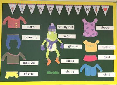 Englischecke in der Grundschule zum Thema clothes