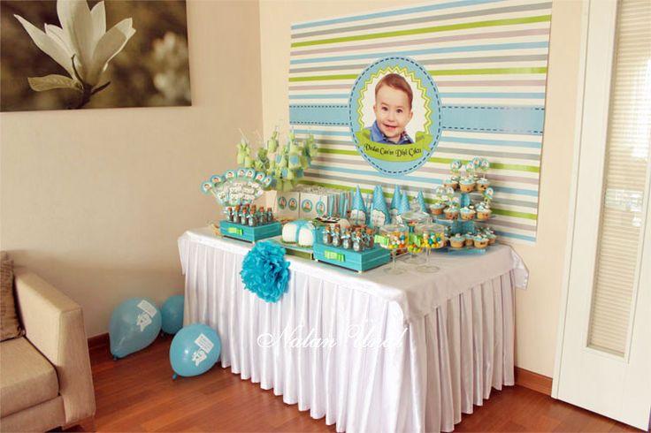 Diş buğdayı partisi (Vedat bebek) organizasyonu için mavi yeşil renklerini kullanarak hazırladığım parti süsleri, hediyelikler ve şeker büfesi.