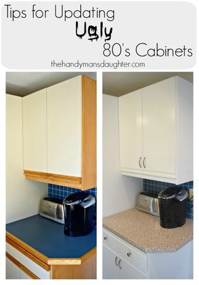 Update those 80's kitchen cabinets with paint! These tips guide you through the challenges of painting those ugly melamine cabinets with oak grab bars.