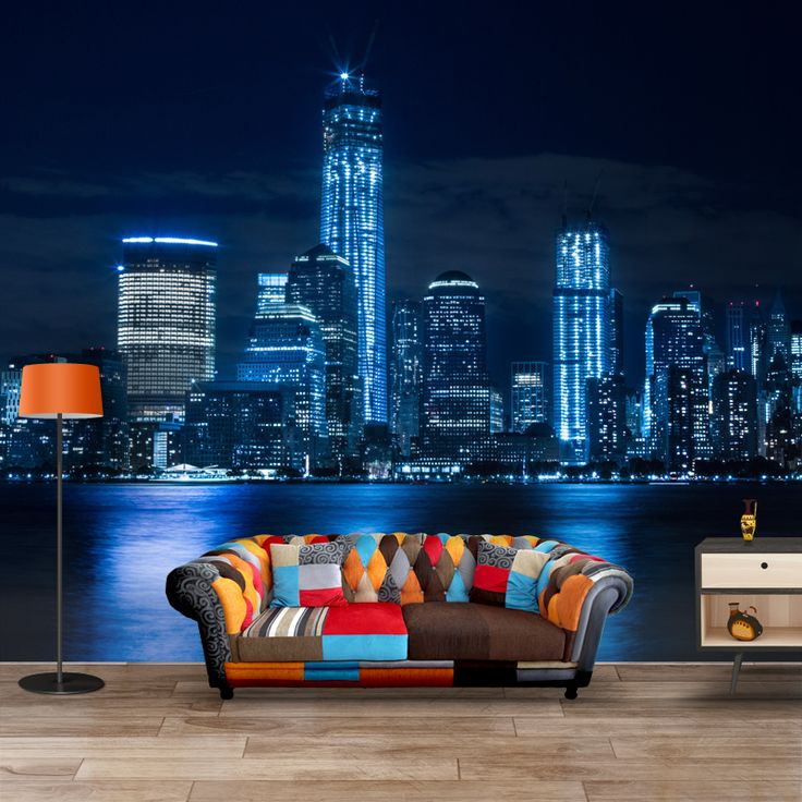 Fotobehang New York by Night | Maak het jezelf eenvoudig en bestel fotobehang voorzien van een lijmlaag bij YouPri om zo gemakkelijk jouw woonruimte een nieuwe stijl te geven. Voor het behangen heb je alleen water nodig! #behang #fotobehang #print #opdruk #afbeelding #diy #behangen #newyork #manhattan #bigapple #stad #nacht #usa