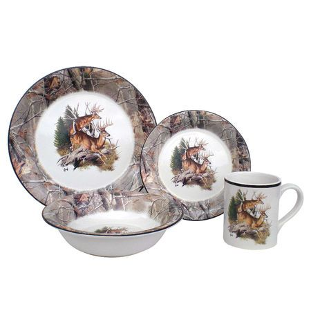 Great Ideas Realtree 16-Piece Dinnerware Set  sc 1 st  Pinterest & 26 best JEFF DISHWARE images on Pinterest | Dinnerware sets Dish ...