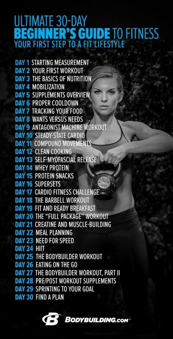 The Ultimate 30-Day Beginner's Guide to Fitness is a one-month course designed to teach you the essentials of training, nutrition, and supplementation. It's for anyone who doesn't know where to start. This is fitness made simple: one day at a time, one challenge at a time. Bodybuilding.com by kelli