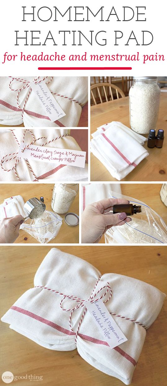 Make your homemade heating pads to help with headache and menstrual pain.