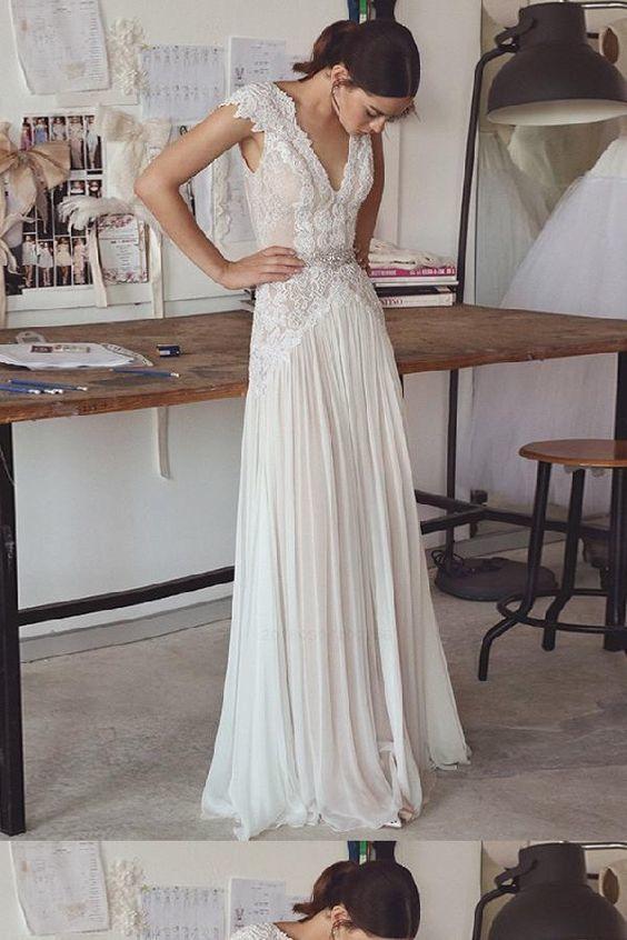 Customized Vogue V Neck Party Dresses, A-Line Wedding Dress, Party Dresses Chiffon, Wedding Dress Lace