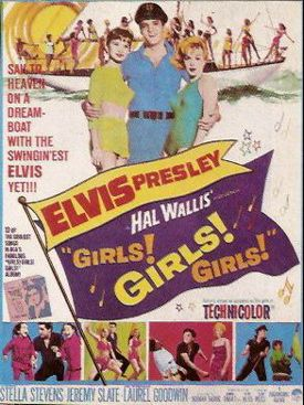 """""""Girls! Girls! Girls!"""" is a  1962 musical comedy starring Elvis Presley as a penniless Hawaiian fisherman who loves life on the sea and dreams of owning his own boat. """"Return to Sender"""", which reached #2 on Billboard pop singles chart, is featured in the movie. The movie opened at #6 on Variety box office chart and finished the year at #31 on the year-end list of  top-grossing movies of 1962. The movie earned $2.5 million at the box office. The film was shot on location in Hawaii."""