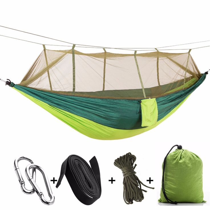 Outdoor Portable Double Sleeping Hammock 210T Parachute Fabric Hanging Bed With Mosquito Net Camping Travel Hangmat, 260x140cm