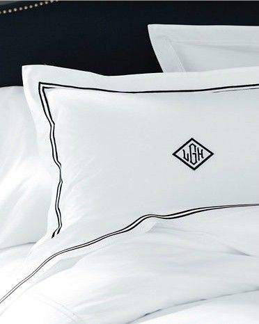 Bedding In White With Navy Piping, White And Navy Hotel Bedding