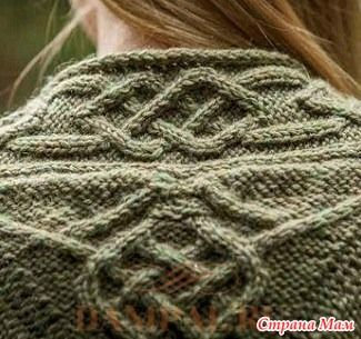 """Кардиган с аранами украшен на спинке медальоном, символизирующим кельтские узлы.  Описание кардигана от дизайнера Cassie Castillo переведено из книги """"Celtic Journey"""".  Размеры:"""