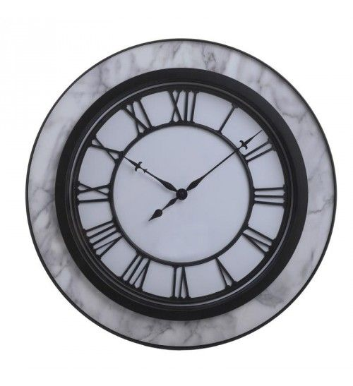 POLYRESIN WALL CLOCK W_MARBLE FINISH IN GREY_WHITE COLOR D50X5