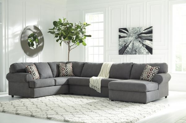 Jayceon Contemporary Steel Fabric Sectional W/RAF Corner Chaise