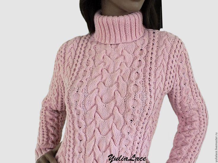 """Купить Свитер """"Розовая пудра"""" - бледно-розовый, свитер, свитер вязаный, свитер женский"""