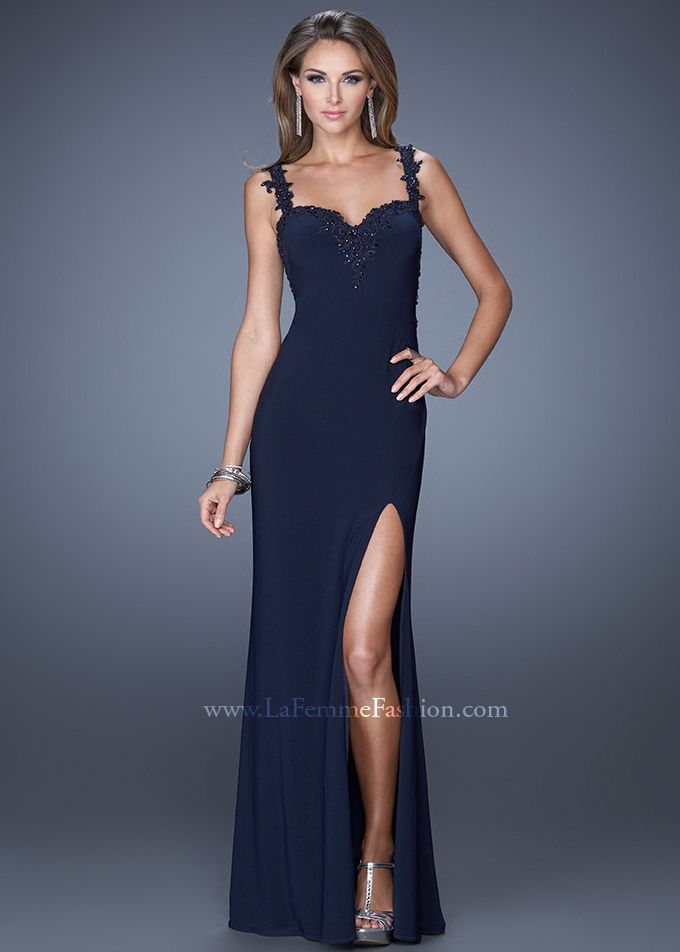 La Femme 20614 - Navy Fitted Open Back Jersey Prom Dresses Online