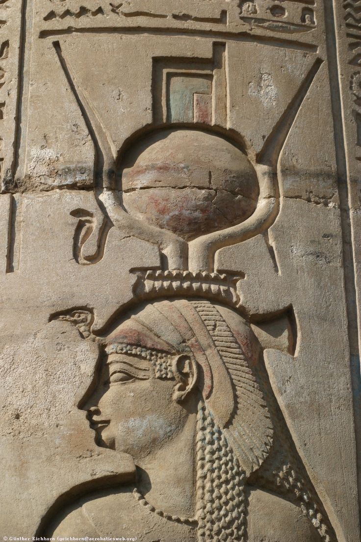 Close-up of a relief of Isis in the Temple of Kom Ombo.