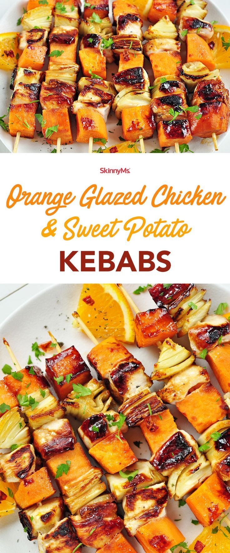 These Orange Glazed Chicken & Sweet Potato Kebabs make the perfect low-calorie dinner recipe! | easy recipes | low calories recipes | chicken recipes | easy dinner recipes