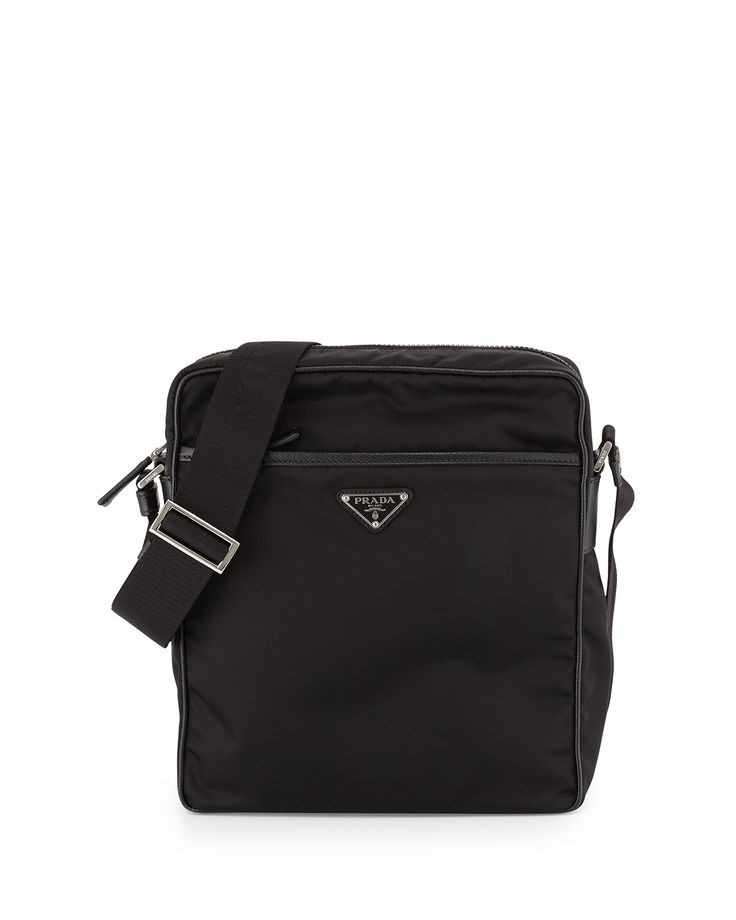 Small Nylon Messenger Bag, Black