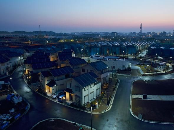Experimental smart town powered by solar tech & battery storage is being developed in Japan