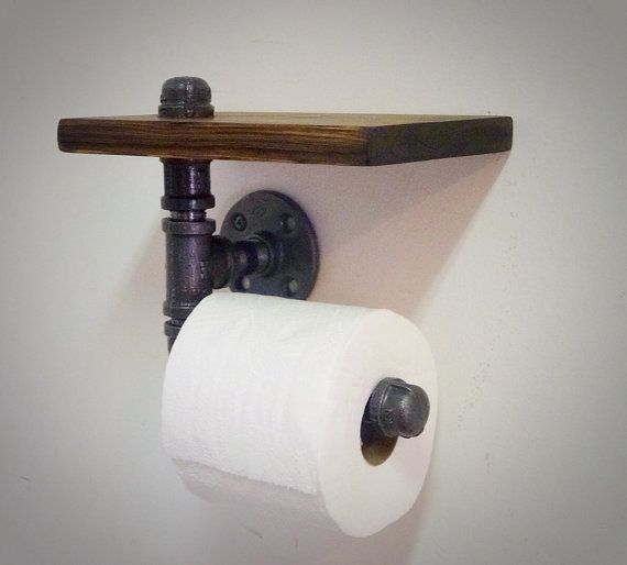 Industrial Pipe Toilet Paper Holder with Shelf