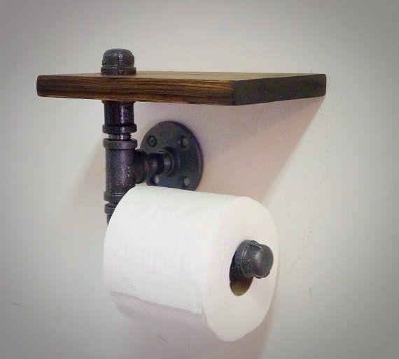 Industrial Pipe Toilet Paper Holder with by IndustrialHomeBazaar