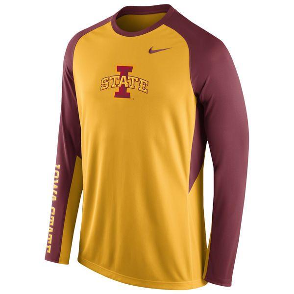 Iowa State Cyclones Nike Elite Basketball Pre-Game Shootaround Long Sleeve Dri-FIT Top - Gold - $44.99