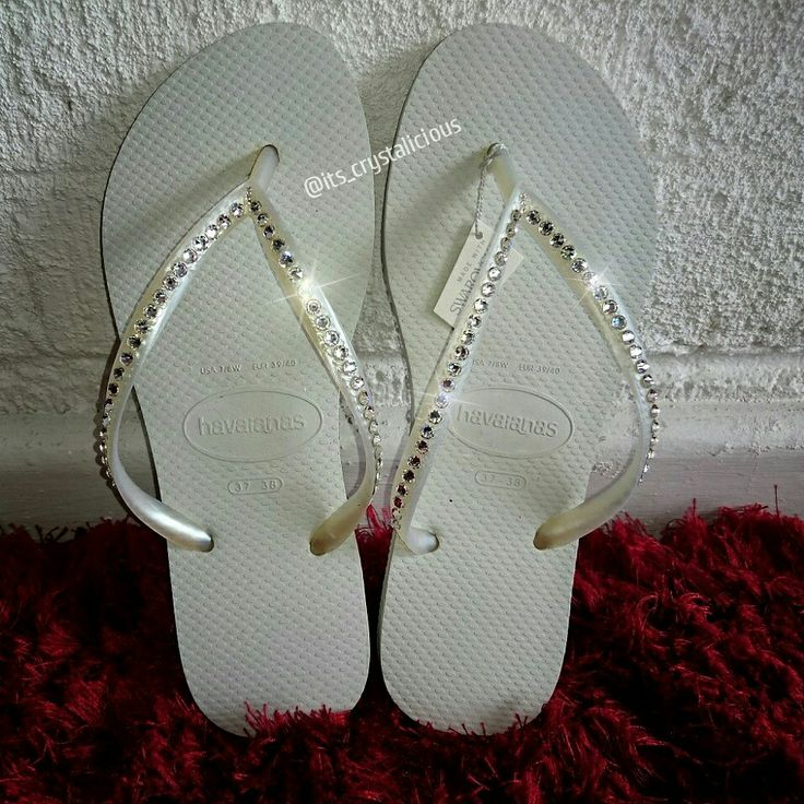 Our Single Row Crystalicious® Havaianas, embellished with Genuine Crystals from SWAROVSKI® are becoming quite popular with our Brides    Only $95.00 AUD    www.ItsCrystalicious.etsy.com    #bride #bridesmaids #bridetobe #bling #crystalsfromswarovski #crystalicious #crystals #designer #diamonds #fashion #glam #handmade #havaianas #flipflops #beachwedding #beach #lux #musthave #newlyweds #honeymoon #ido #style #swarovskielements #swarovski #trend #sparkles #weddingday #wedding