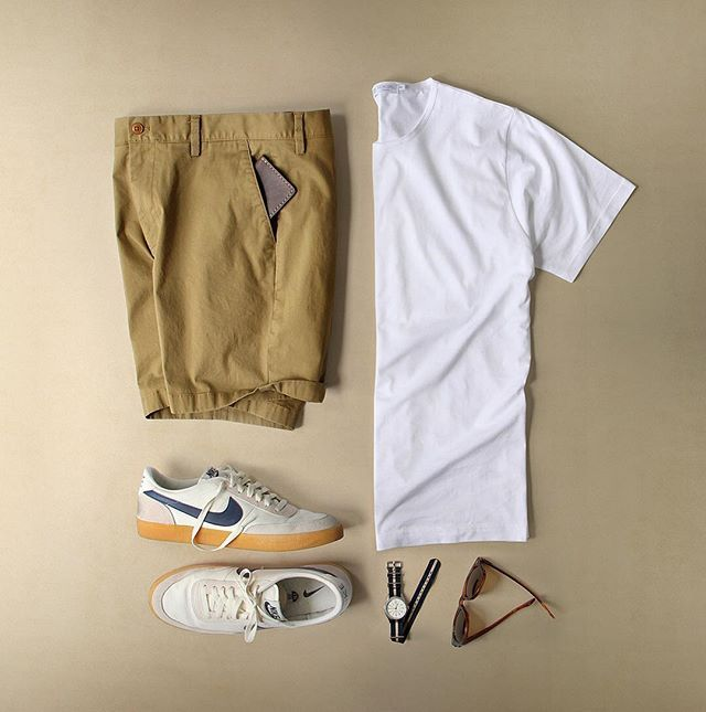 Loving and living in simple summer threads.  Shoes: @nike Killshot 2 for @jcrew (discontinued) Shirt: @sunspelclothing Wallet: @starkmade Shorts: @nautica Glasses: @rayban Meteor Watch: @timex for @jcrew
