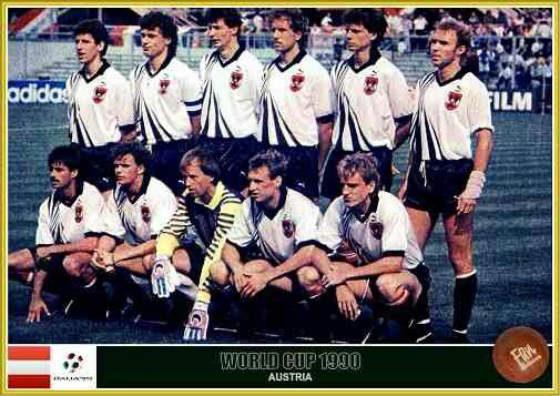 Austria team group at the 1990 World Cup Finals.