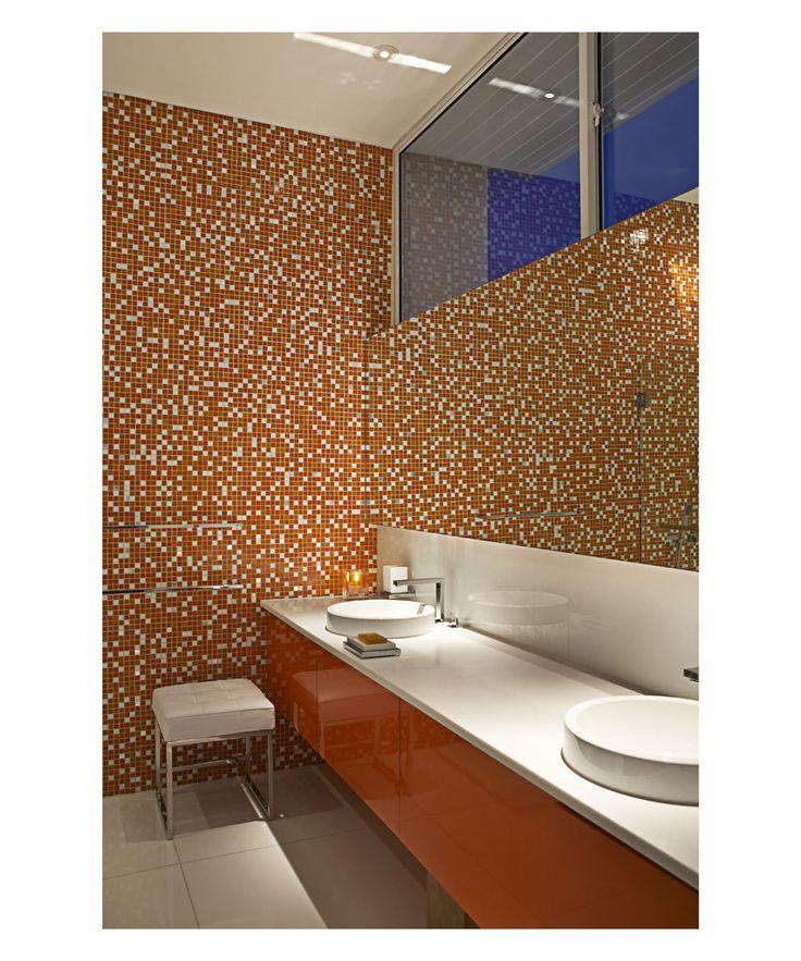 Orange bathroom, Luna2 private hotel, Bali. Interior design by Melanie Hall. #bathroom #interiordesign #melaniehalldesign #bisazza