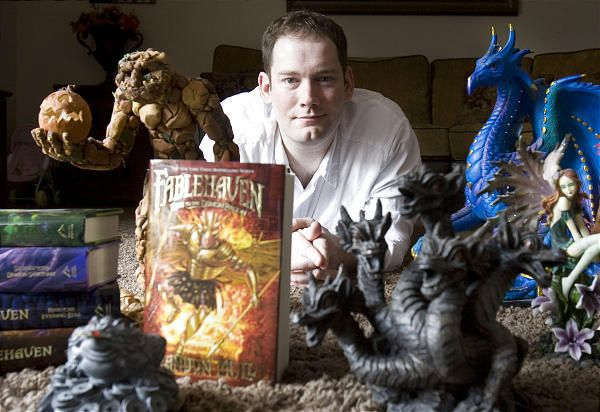 Fablehaven author Brandon Mull pictured with sculptures of a few of his fantasy characters.  Cool Hugo.  The pin links to a great article.