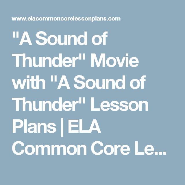 """A Sound of Thunder"" Movie with ""A Sound of Thunder"" Lesson Plans 