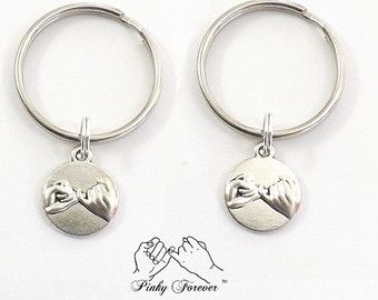 Best Friends Pinky Promise Necklace and Keychain His by koolstuff2