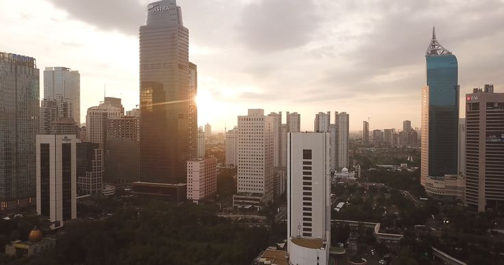 Drone view of skyscrapers in Jakarta city Stock Footage,# ...