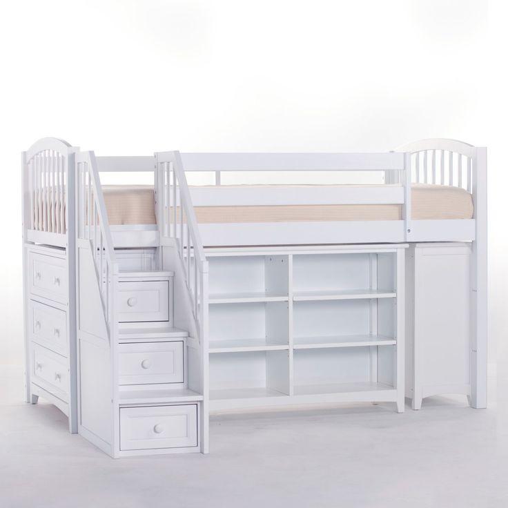 Best School House Storage Junior Loft With Stairs White 640 x 480