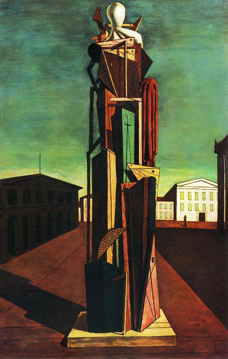 ARTE METAFÍSICO. Movimiento artístico italiano que representaron un mundo visionario que se entrelazaba casi inmediatamente con la mente inconsciente, más allá de la realidad física. El movimiento metafísico inspiró al Dadaísmo y el Surrealismo. GIORGIO DE CHIRICO. El Gran Metafísico. 1917.