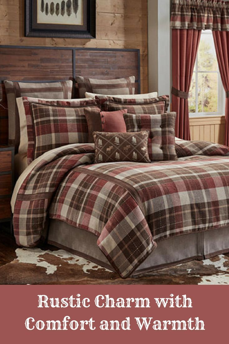 This Cozy Comforter Set Is The Perfect Combination To Finish Off Your Farmhouse Or Cabin Style Bedroom Comforter Sets King Comforter Sets Queen Comforter Sets