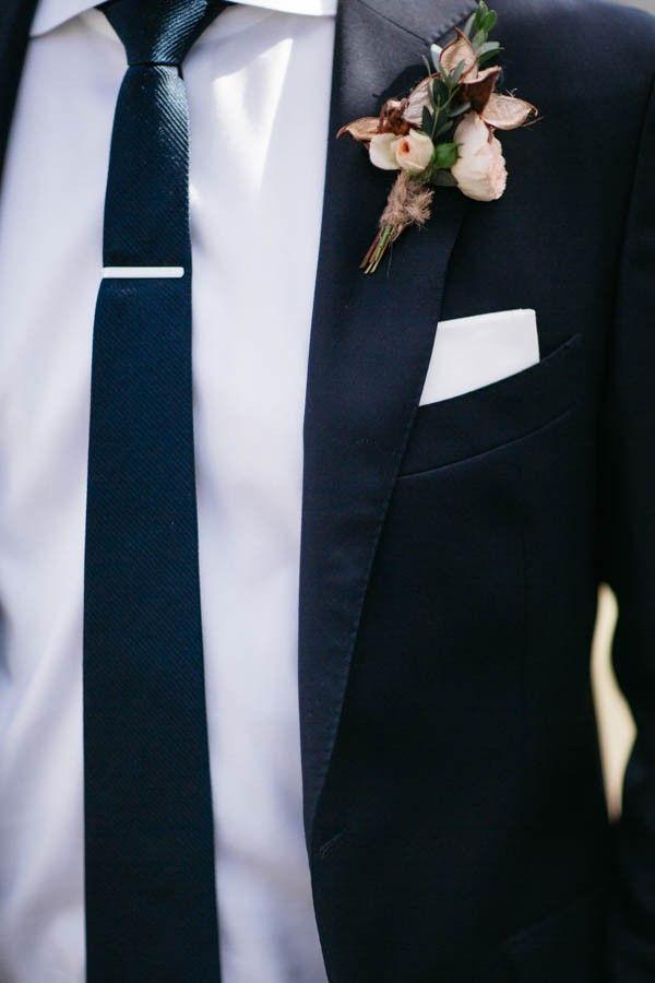 Navy suit, white shirt, skinny tie | Dan Stewart Photography