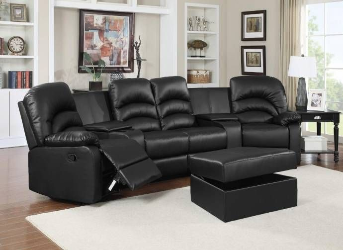 Ventura Reclining Black Leather Sectional W Ottoman Home Theater Seats Reviews Ve4001set