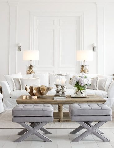 Love this Classic White French Country Living Room?  Try our South Hampton Sofa and Avignon Coffee Table in Burnish - This is very much a French Dressing look