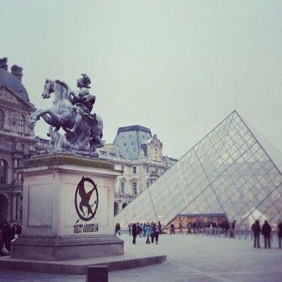 Photo montage des tags #OLTM (Notre Leader le Geai Moqueur) sur les monuments de Paris.  - Hunger Games, la Révolte.