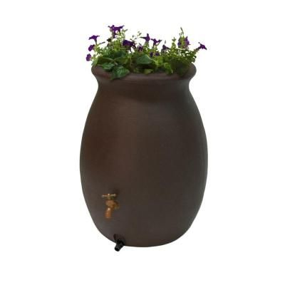 Algreen Castilla 50 Gal. Brownstone Decorative Rain Barrel with Planter-81313 - The Home Depot