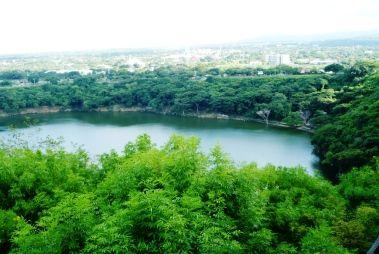 Lago formado na Boca do Vulcão visto do Bunker de Somoza - Manágua - Nicarágua - Viagem com Sabor  Foto 2
