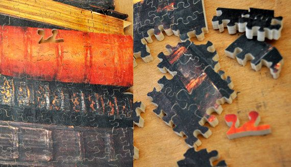 Old books, the power of knowledge.. hand cut wooden puzzle