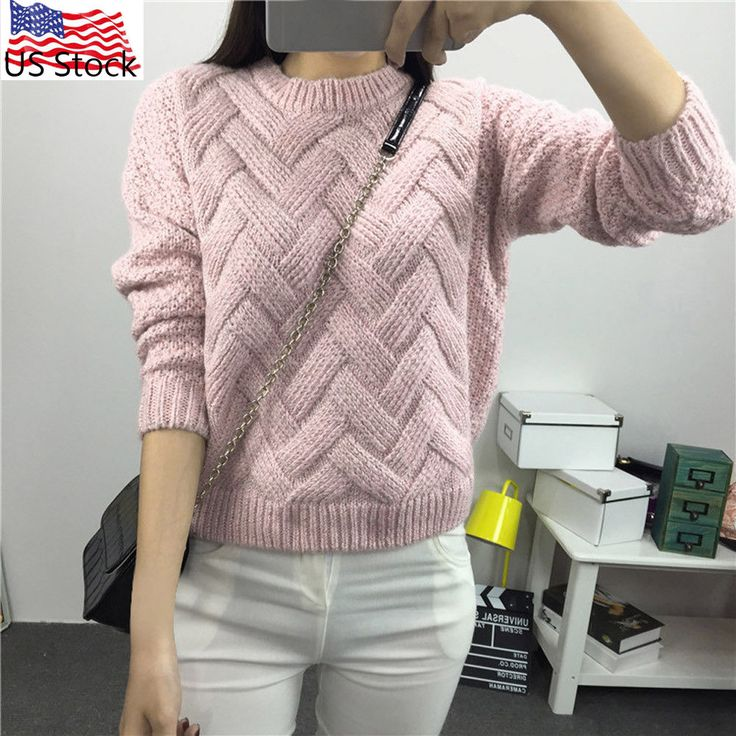 Fashion Women's Long Sleeve Knitted Pullover Jumper Sweater Knitwear Tops USPS #1989_2019 #Sweater #Casual