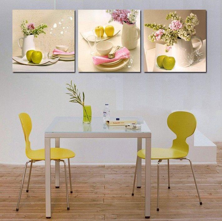2015 Новый 3 Панелей кухня фруктовые Украшения цветы Холст Абстрактная Живопись на Стене Висит Комбинационной Картинка, бесплатная Доставка