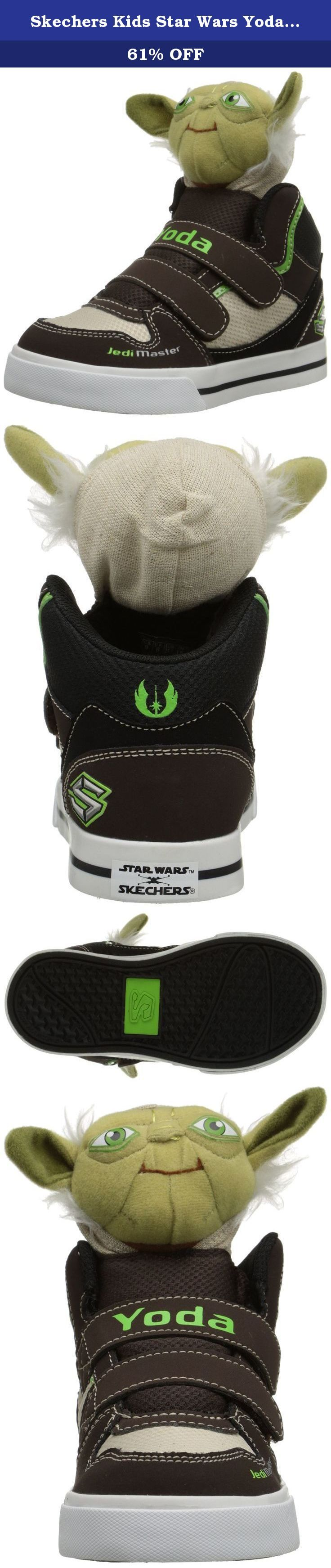 """Skechers Kids Star Wars Yoda Plush Double Strap Sneaker (Toddler), Chocolate/Taupe, 5 M US Toddler. Printed Star Warsâ""""¢ designs and Yodaâ""""¢ plush detailing. Master Yodaâ""""¢ features printed eyes, soft sculpture features, adorable fabric ears and tufts of faux-fur on the sides. Rubber toe cap front. Dual hook-and-loop closure for easy on and off. Padded collar and tongue for added comfort. Soft fabric lining and cushioned insole create a comfortable environment for the foot. Shock…"""