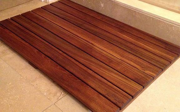 We've seen the teak shower floor idea, but what about this teak floormat DIY from Rust-olium? http://www.rustoleum.com/project-catalog/bathroom/teak-bathroom-floor-mat