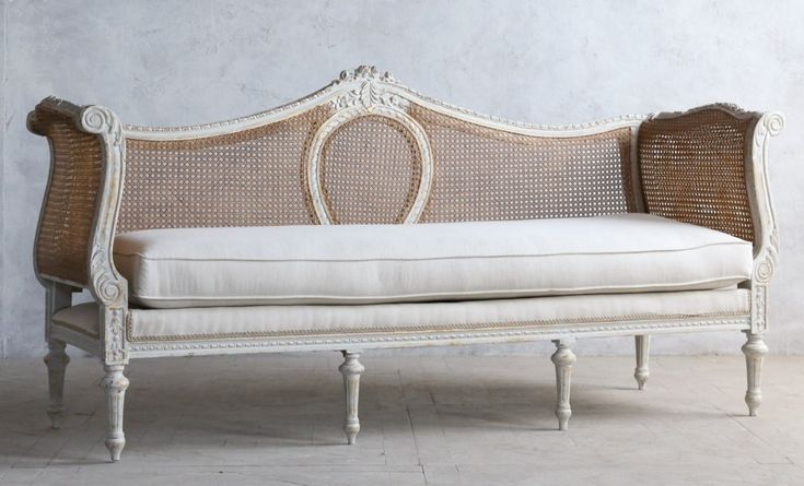Vintage Louis XVI French Style Serpentine Gilt Daybed Cane Linen-antique, serpentine,couch, sofa, floral, hand carved, upholstered, furniture
