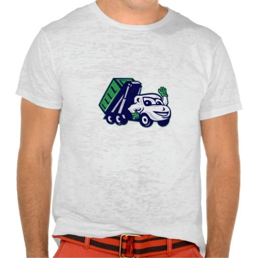 Roll-Off Bin Truck Waving Cartoon Tee Shirt. Illustration of a roll-off bin truck waving viewed from front set on isolated white background done in cartoon style. #Illustration #Roll-OffBinTruckWaving